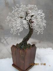 Цветущие деревья из бисера: дерево счастья,  дерево любви!