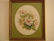 Картина Колибри и орхидеи - вышивка ручная работа