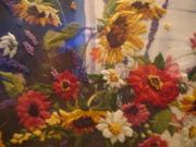 Картина Цветы из сада - вышивка,  ручная работа