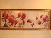Картина Цветущая ветка с бабочками вышивка в формате 3D