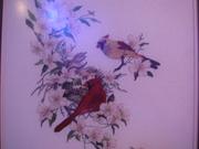 Картина Птицы у гнезда - вышивка ручная работа