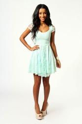 Ментоловое Кружевное платье с рукавом размер M, XL