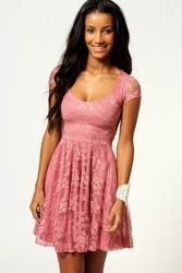 розовое кружевное платье с рукавом размер M, XL F2206-3