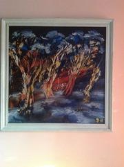 Картина маслом Августовский лес
