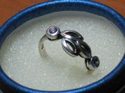 Оригинальное новое кольцо с аметистами,  Италия,  18,  серебро 925.