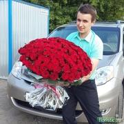 Букет 101 красная роза 70 см с бесплатной доставкой по Алматы
