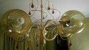 люстра  пятирожковая,  металлическая основа с золотым покрытием