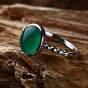 Серебряное кольцо для девушки,  17,  зеленый агат. Тайланд.