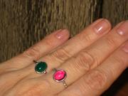 Серебряное кольцо для девушки,  17,  зеленый агат и розовый корунд.
