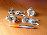 Статуэтка зайцы - кролики (пара),  фарфор ЛФЗ.