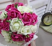Свадебный букет (Искусственные цветы) малиновый