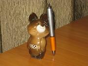Мишка Олимпийский фарфор ЛФЗ,  12см,  сохранность хорошая.