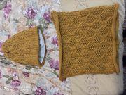 Горчичный комплект: шапка + шарф-труба